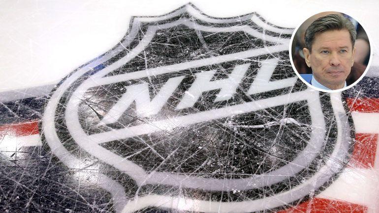 Логотип НХЛ и Вячеслав Быков.