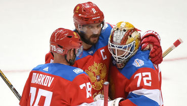 Хоккеисты сборной России Андрей Марков, Александр Овечкин и Сергей Бобровский. Фото USA Today