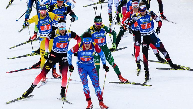 18 января. Рупольдинг. Матвей Елисеев (№ 1) возглавляет гонку. Фото AFP