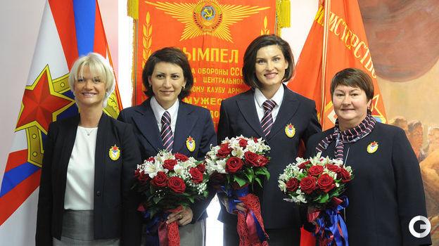 2015 год. Светлана Хоркина, Татьяна Лебедева, Анна Чичерова, Елена Вяльбе (слева направо). Фото Александр Вильф