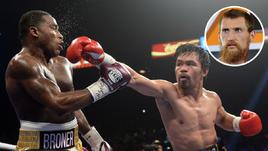 19 января. Лас-Вегас. Мэнни Пакиао (справа) в бою против Эдриена Бронера.