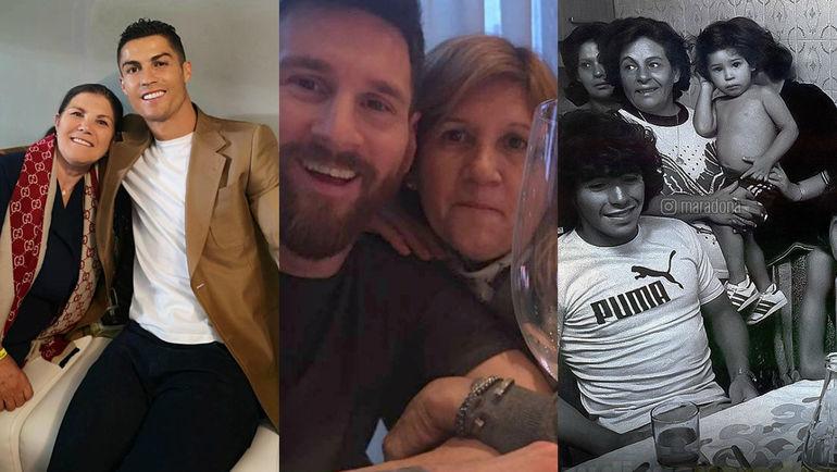 Криштиану Роналду, Лионель Месси и Диего Марадона с мамами.