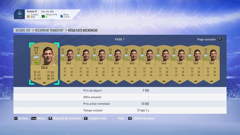 Цены на карточки Эмилиано Салы в FIFA 19 после исчезновения самолета.