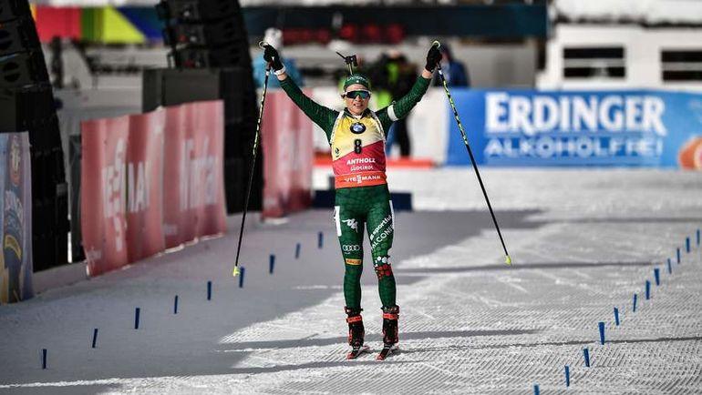 26 января. Антерсельва. Доротея Вирер финиширует после гонки преследования. Фото AFP