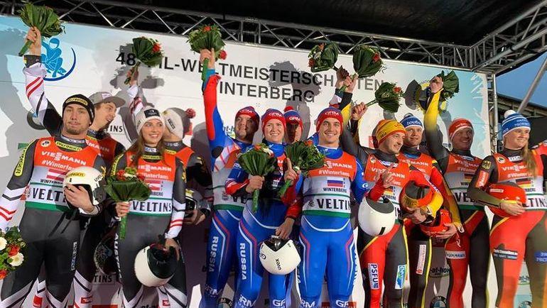Российские саночники выиграли эстафету на чемпионате мира. Фото Федерация санного спорта России