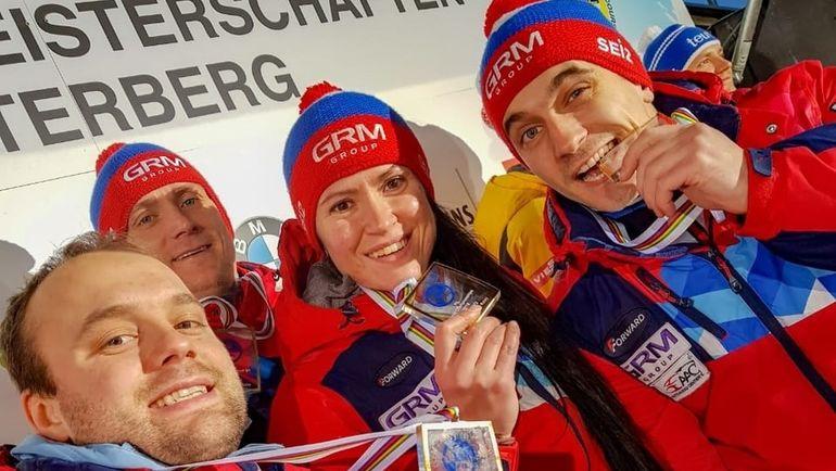 Слева направо: Семен Павличенко, Владислав Южаков, Татьяна Иванова и Юрий Прохоров. Фото Федерация санного спорта России
