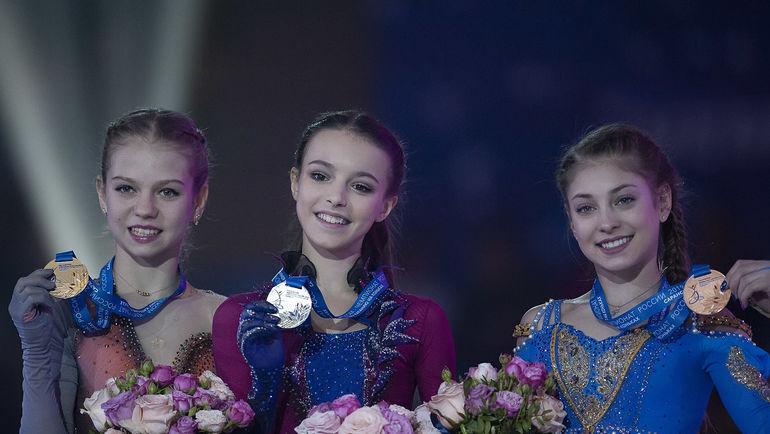 Александра Трусова, Анна Щербакова и Алёна Косторная. Фото Ксения Нуртдинова