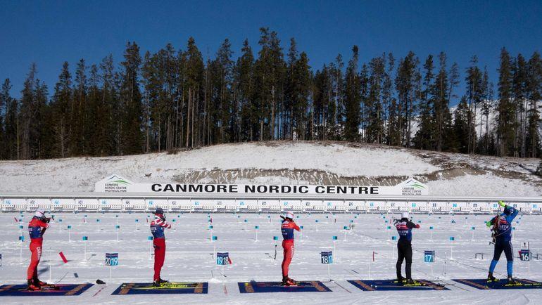 Биатлонное стрельбище в канадском Кэнморе. Фото AFP