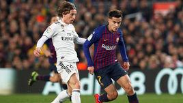 "6 февраля. Барселона. ""Барселона"" - ""Реал"" - 1:1. Лука Модрич и Фелиппе Коутинью."