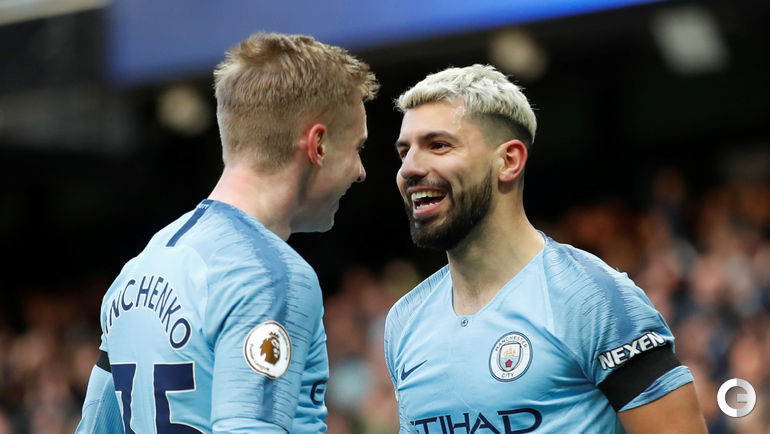 "10 февраля. Манчестер. ""Манчестер Сити"" - ""Челси"" - 6:0. Серхио Агуэро (справа) и Александр Зинченко."