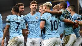 "10 февраля. Манчестер. ""Манчестер Сити"" -""Челси"" - 6:0. Игроки празднуют забитый мяч."