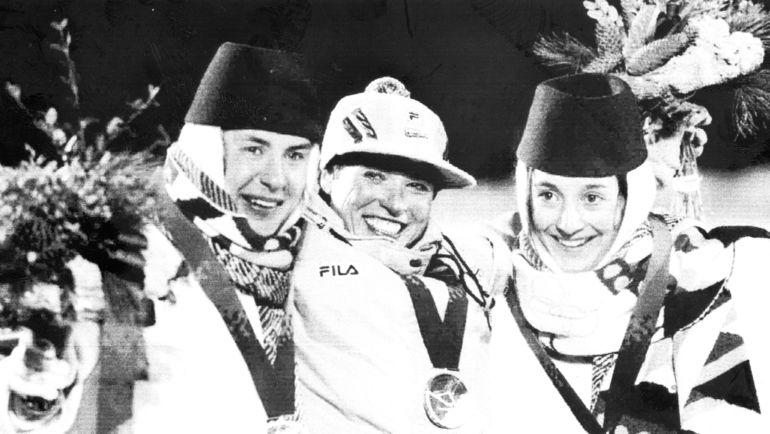 1994 год. Лиллехаммер. Любовь Егорова, Мануэла ди Чента и Нина Гаврилюк после лыжной гонки на 15 км. Фото REUTERS