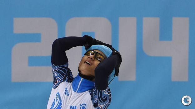 """21 февраля 2014 года. Сочи. Виктор Ан после победы на олимпийской дистанции 500 метров. Фото Александр Федоров, """"СЭ"""""""