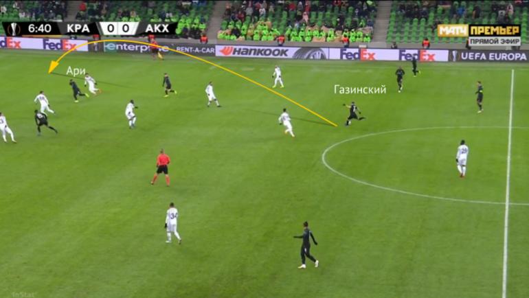 Позиционная атака. Газинский получает мяч и забрасывает на Ари.