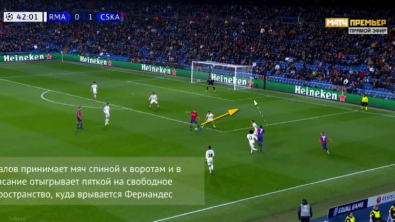 """Второй гол ЦСКА в выездной игре с """"Реалом""""."""