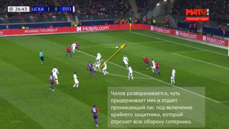 """Матч с """"Викторией"""". Чалов придерживает мяч и отдает в нужный момент под включение Щенникова. Георгий выходит один на один, но не реализует момент."""