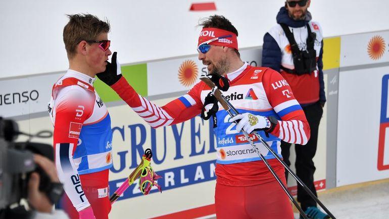 19 февраля. Зефельд. Сергей Устюгов (справа) и Йоханнес Клебо после финиша. Фото AFP