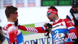 19 февраля. Зефельд. Сергей Устюгов (справа) и Йоханнес Клебо после финиша.