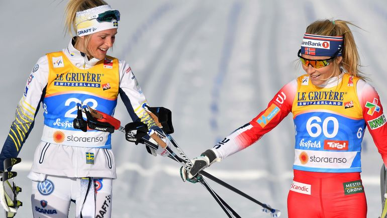 26 февраля. Зефельд. Тереза Йохауг (справа) и Фрида Карлссон. Фото AFP