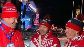 Дмитрий Губерниев с Глебом Ретивых и Александром Большуновым.