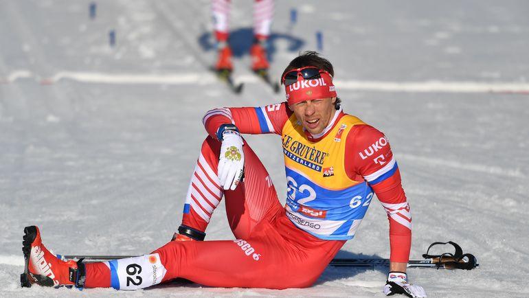 27 февраля. Зефельд. Александр Бессмертных после финиша в гонке на 15 км классическим стилем, в которой он завоевал серебро. Фото AFP