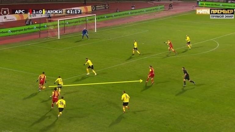 Костадинов возвращает мяч в центр на Ткачева перед штрафной. Тот может включить Бакаева в изоляции или отдать последний пас на Джорджевича, но решает пробить.