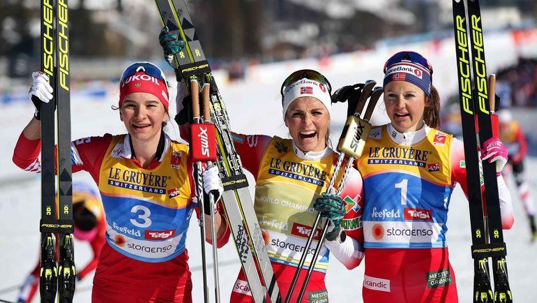 Наталья Непряева (слева), Тереза Йохауг (в центре), Ингвильд Остберг. Фото REUTERS