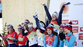 28 февраля. Зефельд. Итоги женской эстафеты - Швеция - первая, Норвегия - вторая, Россия - третья.