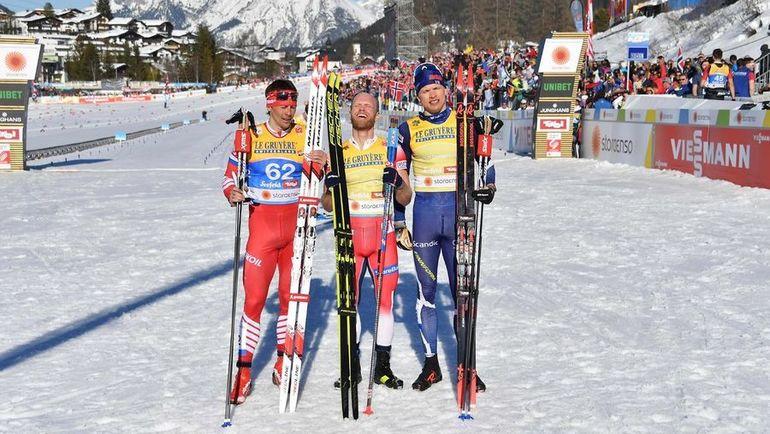 Александр Бессмертных (слева), Мартин Сундбю (в центре), Иво Нисканен. Фото AFP