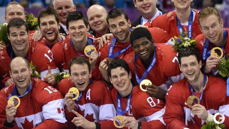 Сборная Канады с золотыми медалями ОИ-2018 в Сочи.