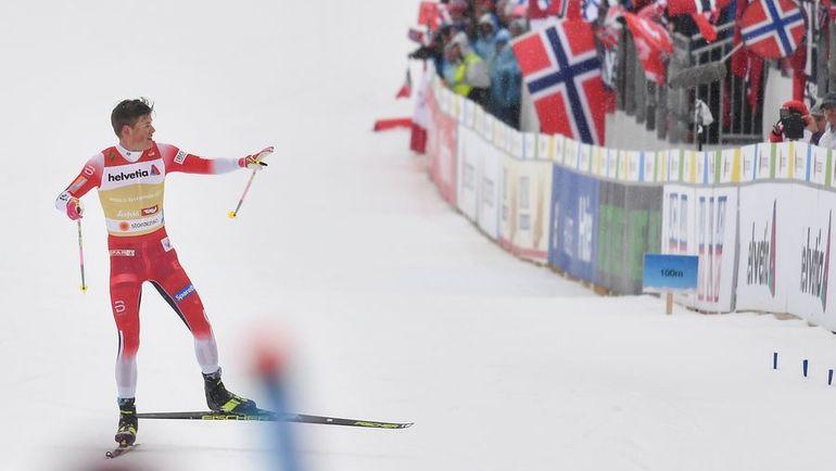 1 марта. Зефельд. Йоханнес Клэбо финиширует в одиночестве. Фото AFP