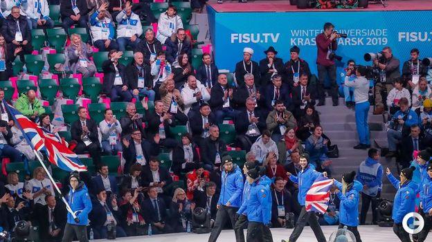 2 марта. Красноярск. Церемония открытия Всемирной зимней Универсиады. Спортсмены сборной Великобритании. Фото AFP
