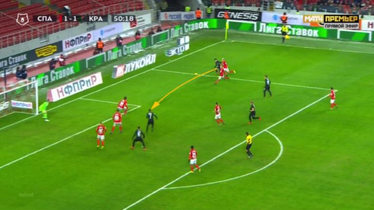 Сулейманов качнул Айртона влево, а сам пробрасывает мяч вправо.