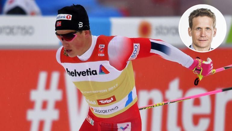 Норвежский лыжник Йоханнес Клебо и журналист норвежского издания VG Лайф Велхавен.