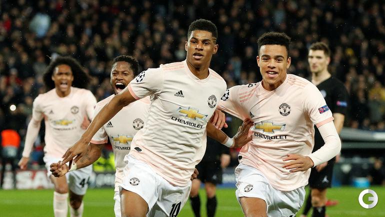 """6 марта. Париж. """"ПСЖ"""" - """"Манчестер Юнайтед"""" - 1:3. Маркус Рэшфорд и Мэйсон Гринвуд."""