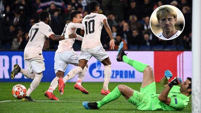 """6 марта. Париж. """"ПСЖ"""" - """"Манчестер Юнайтед"""" - 1:3. Маркус Рэшфорд празднует гол в ворота Джанлуиджи Буффона. Фото AFP"""