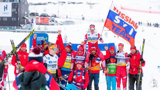 9 марта. Осло. Российская команда празднует убедительную победу в марафоне. Фото REUTERS