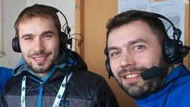 Эстерсунд. Антон Шипулин (в центре) с Николаем Кругловым (справа) и Дмитрием Тереховым.