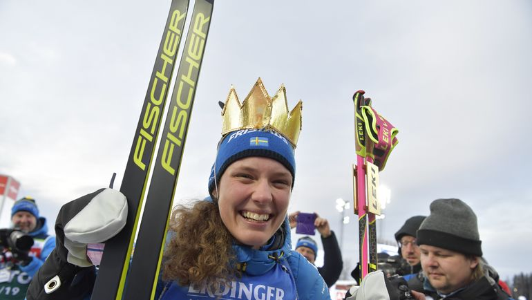 12 марта. Эстерсунд. Ханна Эберг - победительница женской индивидуальной гонки на чемпионате мира. Фото AFP