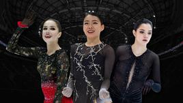 Сможет ли Алина Загитова (слева) на равных соперничать с Рикой Кихирой (в центре)? И что покажет на чемпионате мира Евгения Медведева?