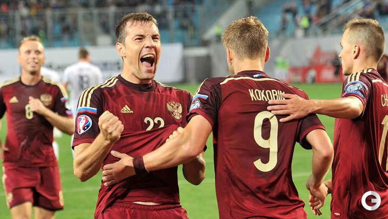8 сентября 2014 года. Химки. Россия – Лихтенштейн – 4:0. Артем Дзюба празджнует гол.