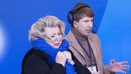 (слева направо) Татьяна Тарасова, Алексей Ягудин, комментатор Александр Гришин.