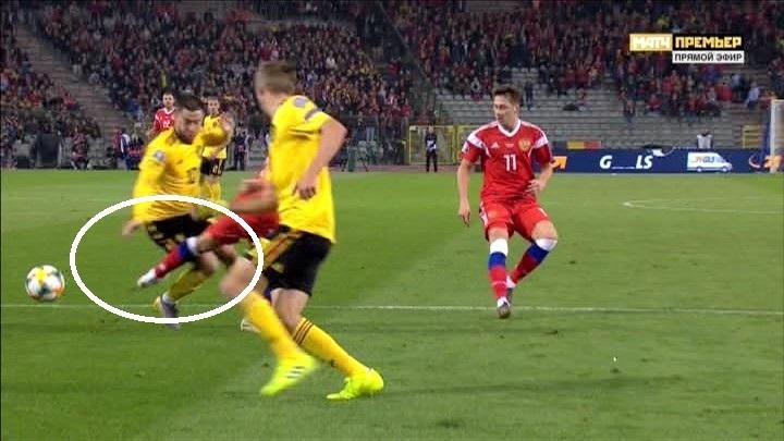 44-я минута матча Бельгия - Россия.