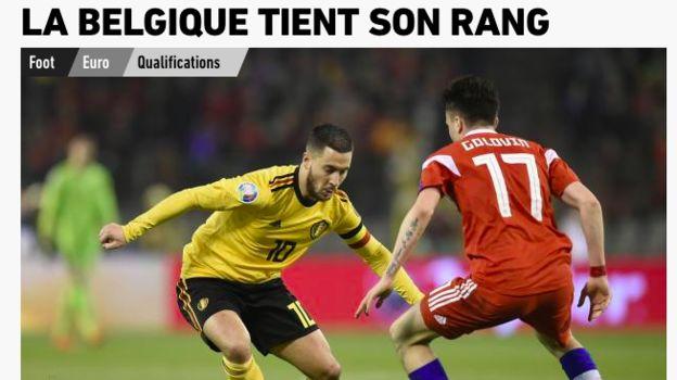 Страница французской газеты L'Equipe после матча Бельгия - Россия (3:1). Фото «СЭ»