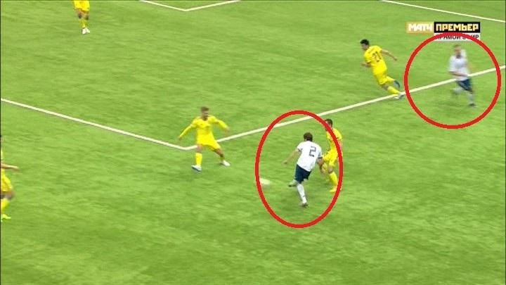 45+2-я минута матча Казахстан - Россия.