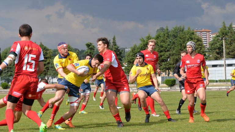 Игроки юниорской сборной России в матче с командой Испании. Фото Пресс-служба Федерации регби Португалии