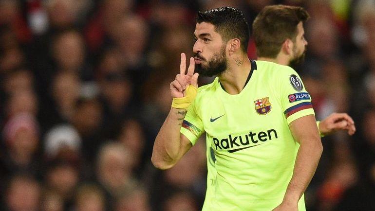 "10 апреля. Манчестер. ""Манчестер Юнайтед"" - ""Барселона"" - 0:1. Луис Суарес. Фото AFP"