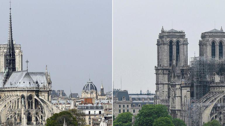 Собор Парижской Богоматери до ремонтных работ и пожара - и после. Фото AFP