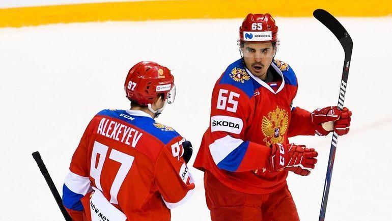 18 апреля. Сочи. Россия - Швейцария - 5:2. Денис Алексеев и Наиль Якупов. Фото ФХР, twitter.com/russiahockey