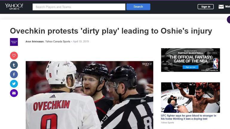 """Страница Yahoo!Sports после четвертого матча между """"Вашингтоном"""" и """"Каролиной"""" (1:2)."""